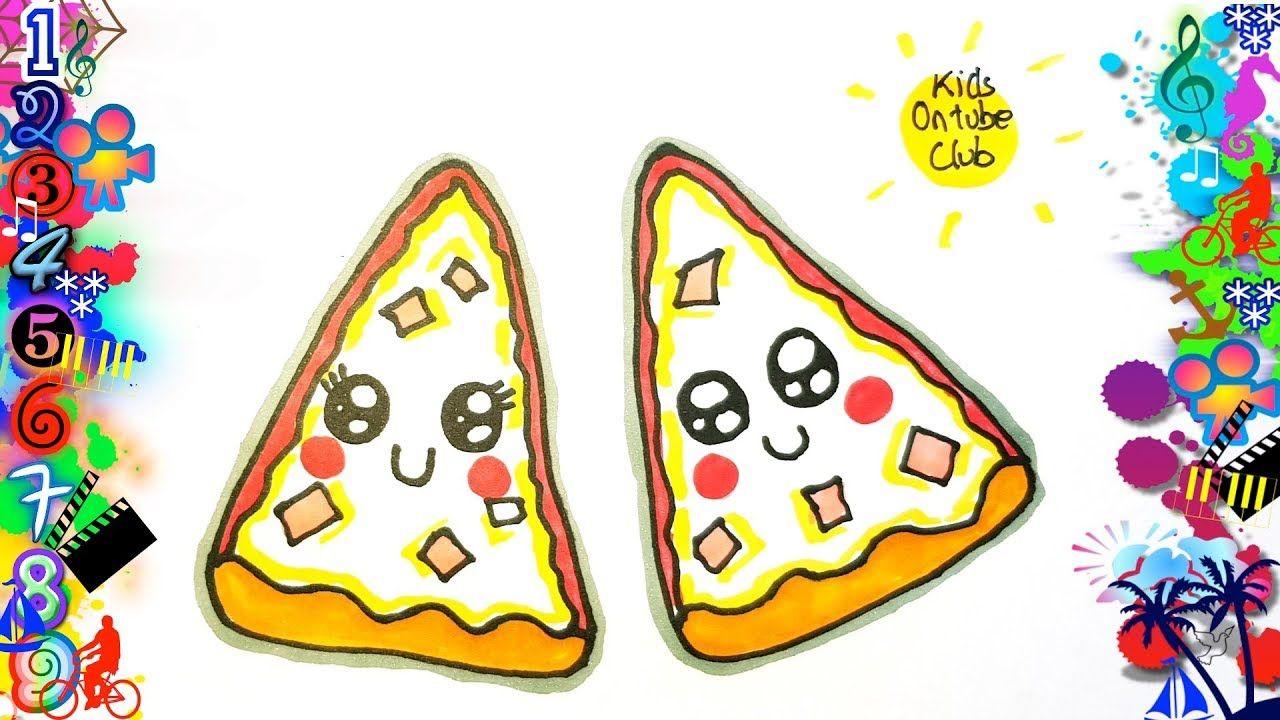 Como Dibujar Pizza Kawaii Facil Para Niños Dibujos En 2019