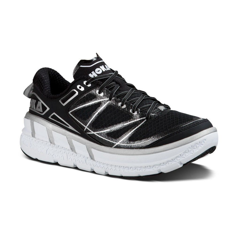 New Hoka One One Odyssey Black/Silver 7 Womens Shoes. This comfortable running shoe features a early stage meta rocker bottom, supportive TPU heel frame, full EVA midsole and flat waisted geometry.