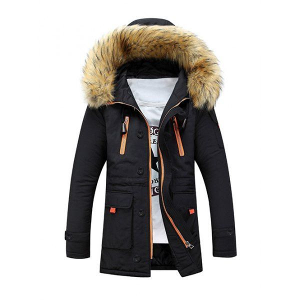 Black Padded Fur Hooded Coat