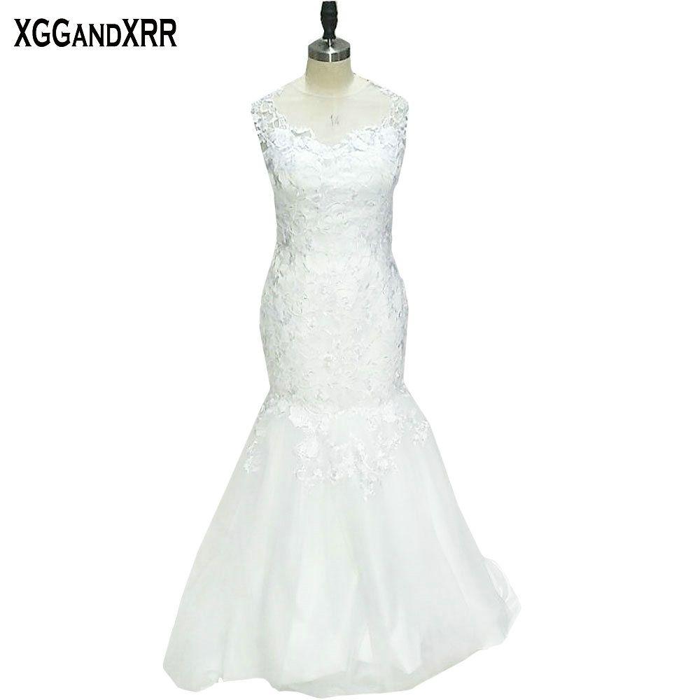 New arrival tulle mermaid wedding dresses scoop appliques