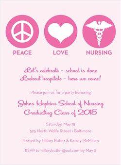 Peace and love nursing graduation invitation pink aprn grad peace and love nursing graduation invitation pink filmwisefo