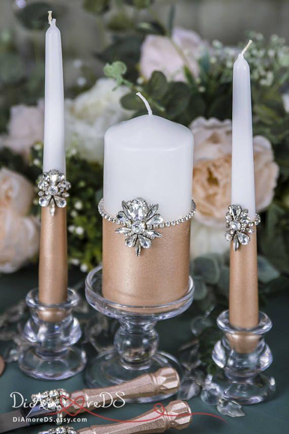 Rose Gold Wedding Set Wedding Unity Candle Set Rose Gold Wedding