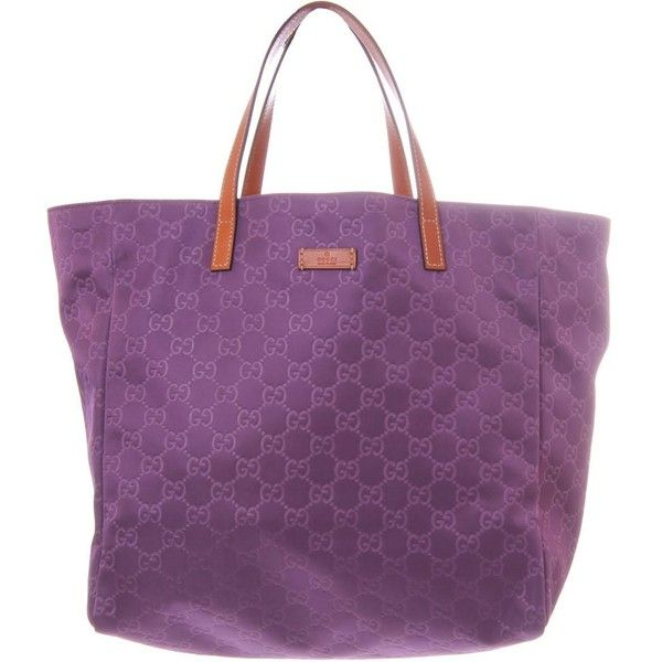 a89496a466ce Gucci Purple GG Print Small Tote Style Nylon Beach Bag ($380) ❤ liked on  Polyvore