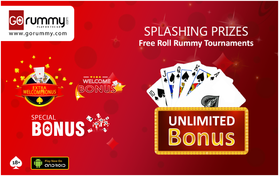 Splashing prizes, Free roll rummy tournaments, unlimited