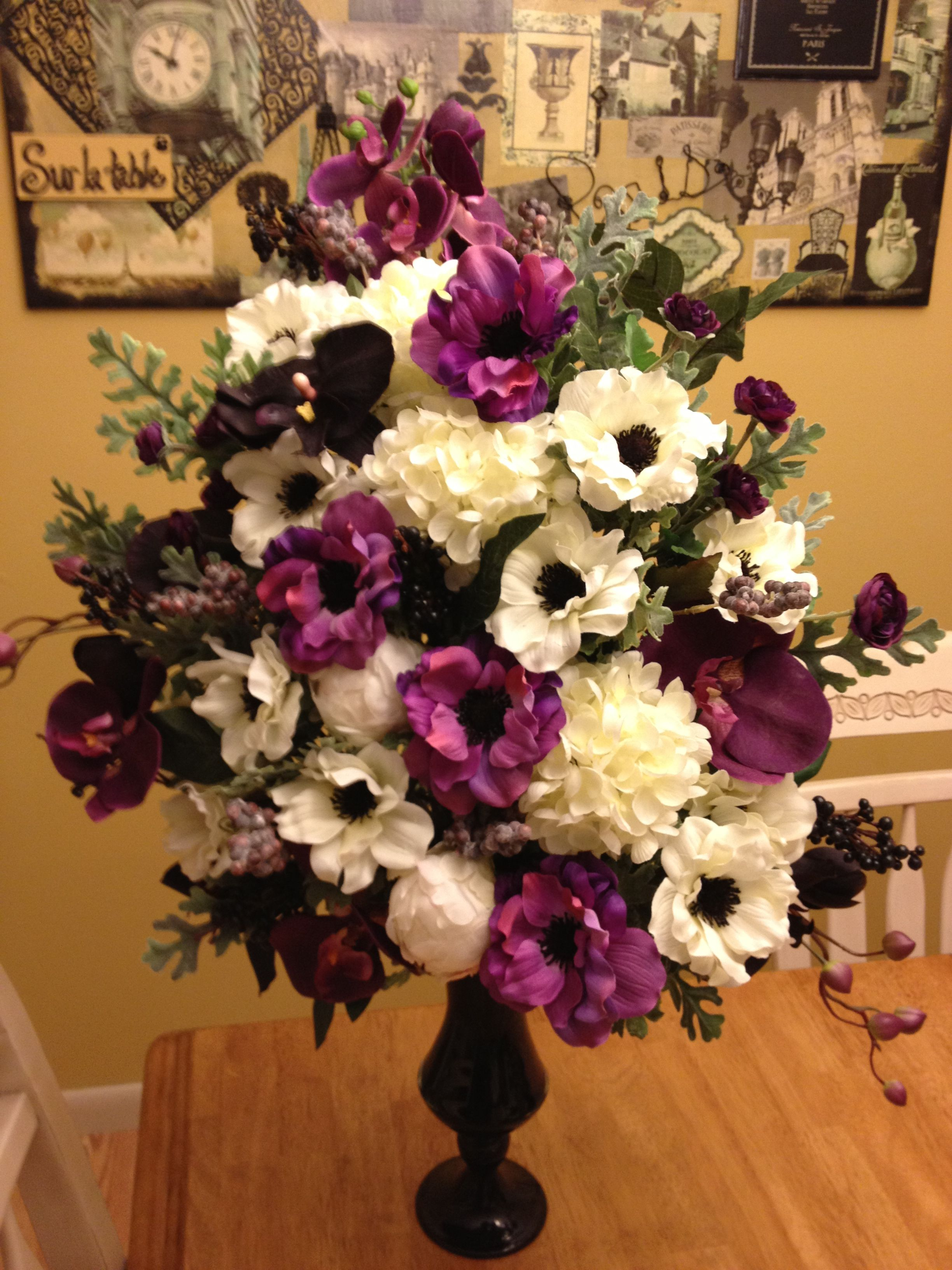 Silk Anemone Centerpiece Floral Arrangement Purple And White And