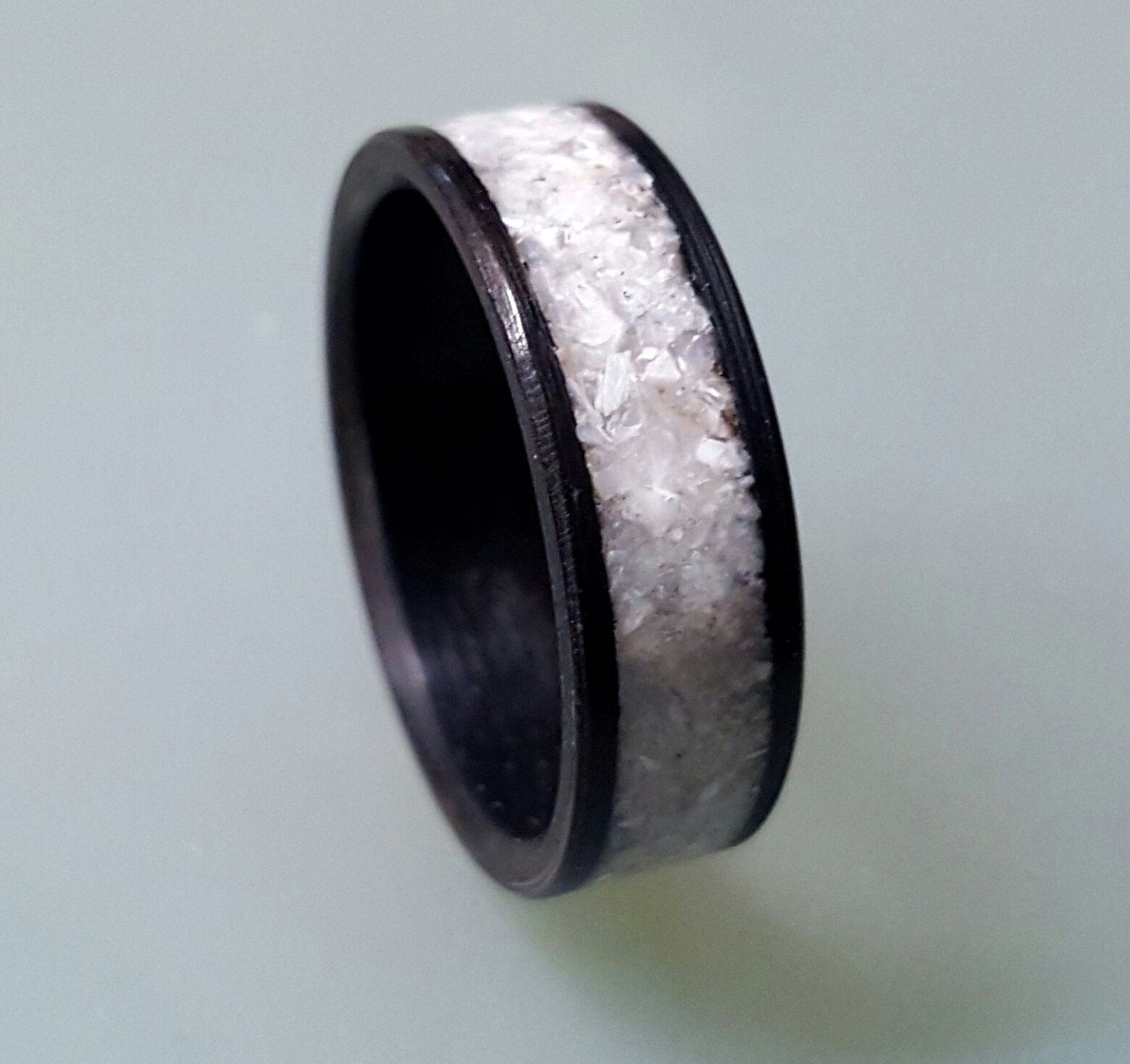 Women's ebony wood ring with crushed shell inlay (79.00 USD) by ringordering
