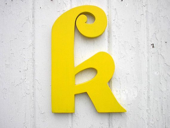 Decorative Wooden Wall Letter k Yellow- Kids Wall Art - Childrens ...