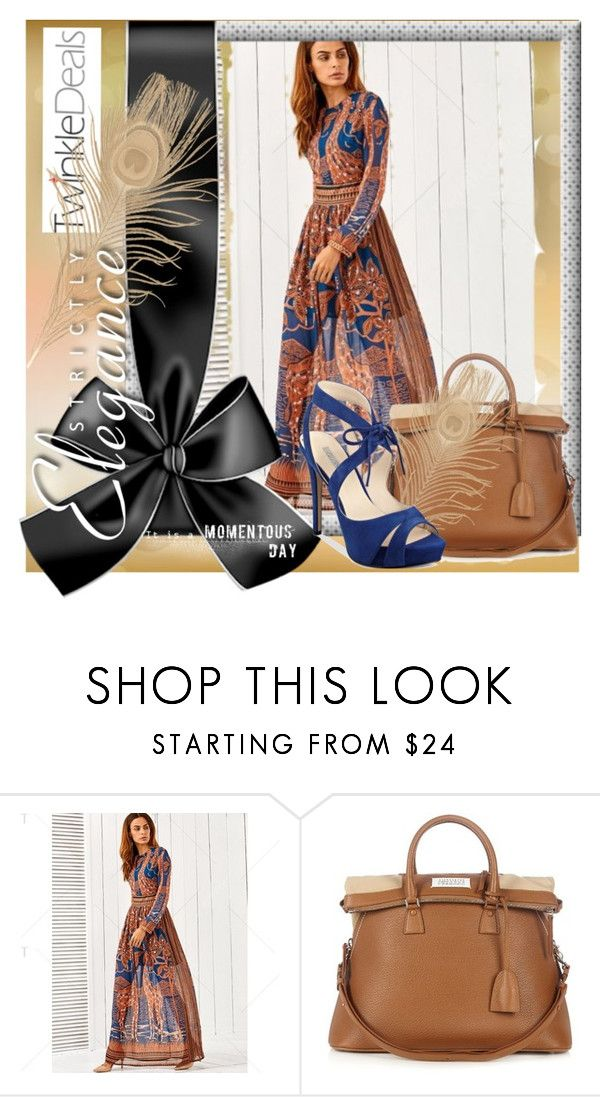 """""""TweankleDeals"""" by s-o-polyvore ❤ liked on Polyvore featuring Maison Margiela, GUESS, Blue, Elegant, brown, walk and daily"""