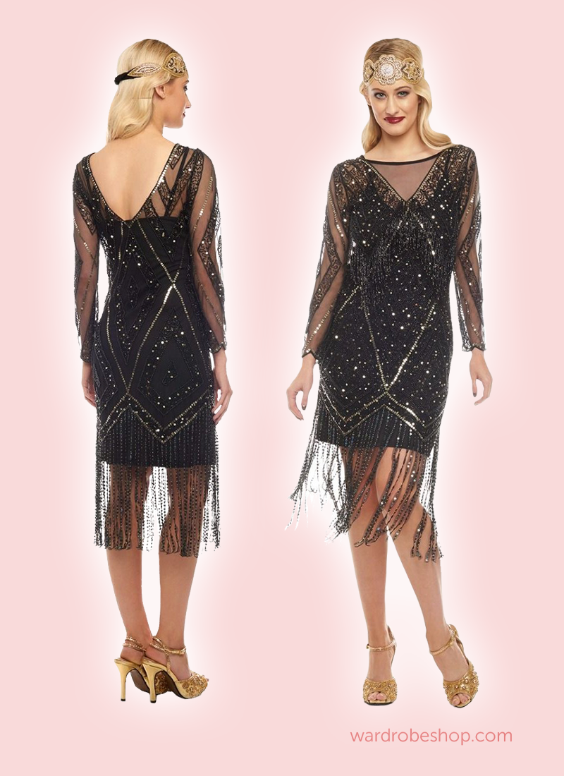 Charleston Fringe Party Dress in Black | Gatsby party, Gatsby and ...