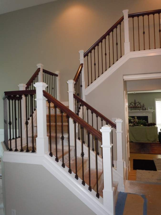 Hand Railing Rod Iron Balusters And Oak Hand Rail Wrought Iron   Wood Railing With Metal Balusters   Metal Baluster Drywall   Modern   Tree Branch Iron   Before And After   Deck