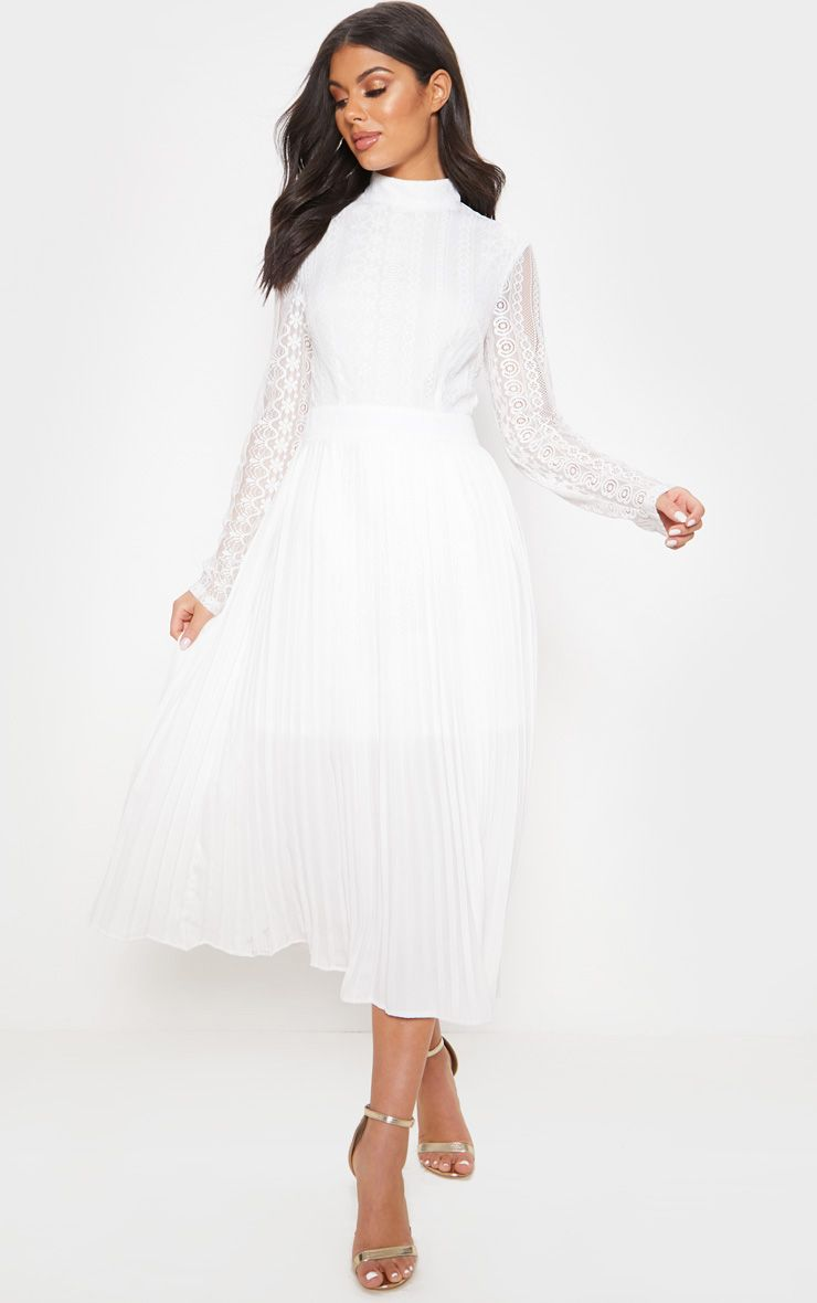 White Lace Top Pleated Midi Dress Pleated Midi Dress White Lace Top White Lace [ 1180 x 740 Pixel ]