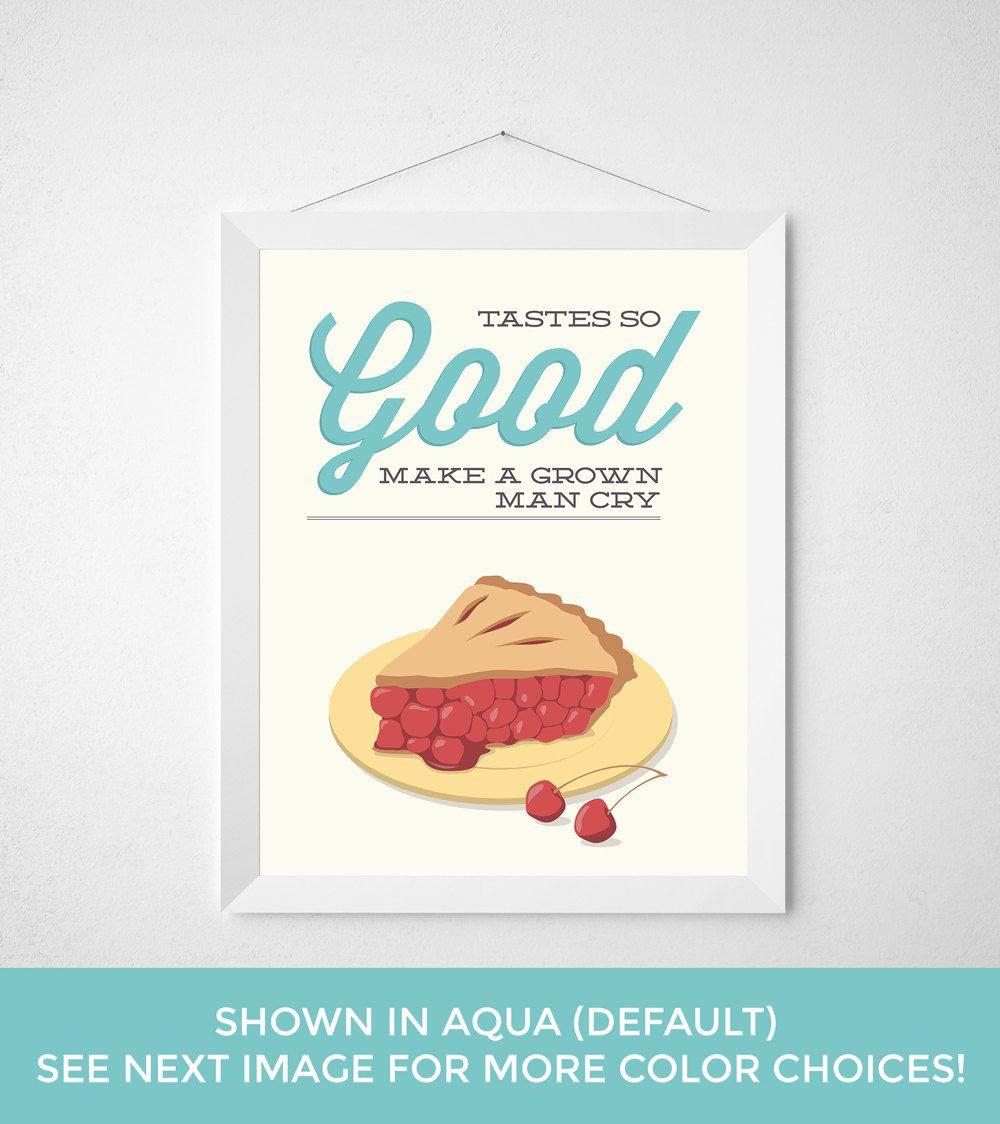 Cherry Pie Kitchen Print Poster baking bake baker by noodlehug ...