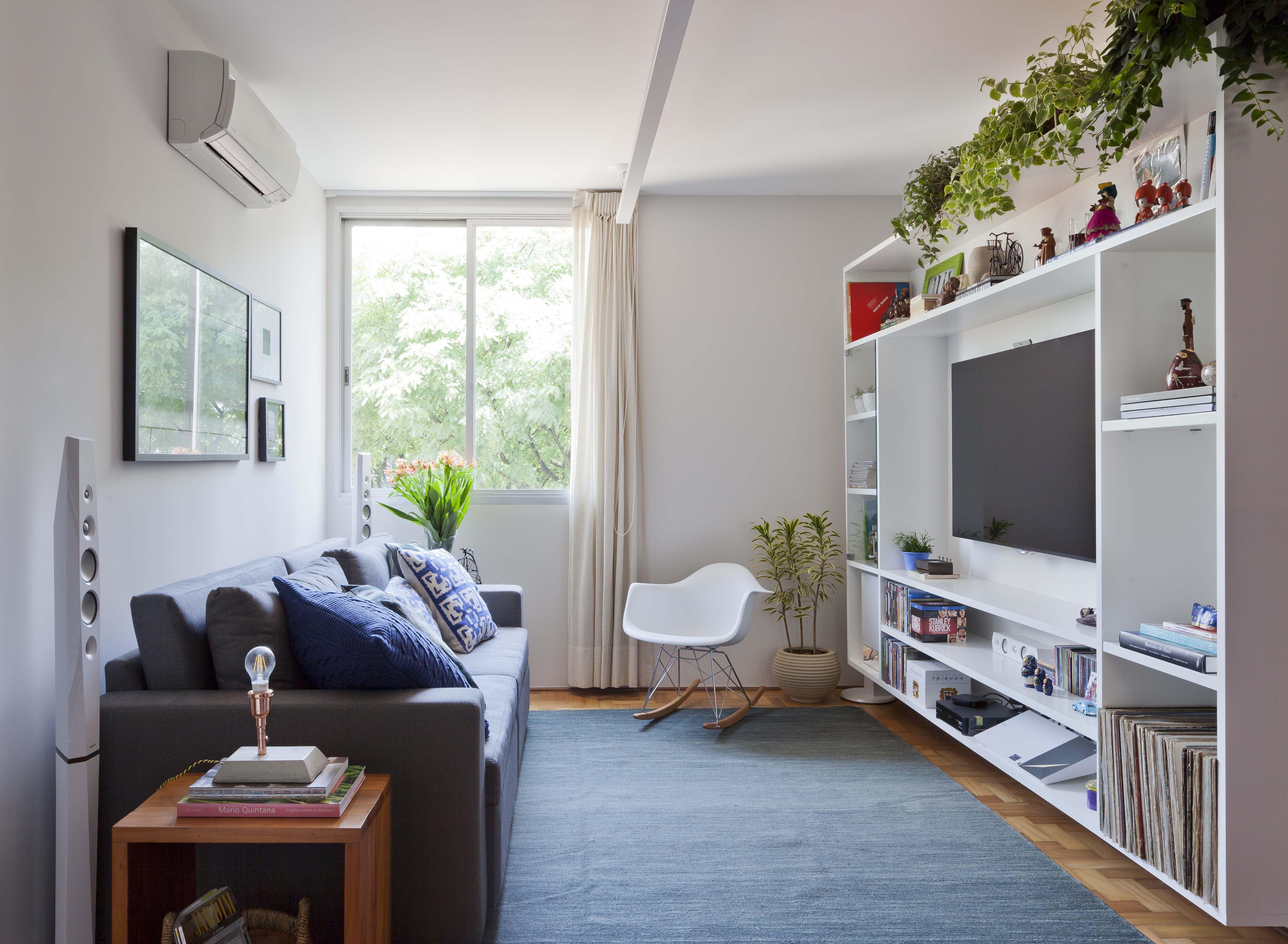 Apartamento Reformado Madeira Ladrilho Hidr Ulico Geom Trico E  -> Sala De Tv Verde