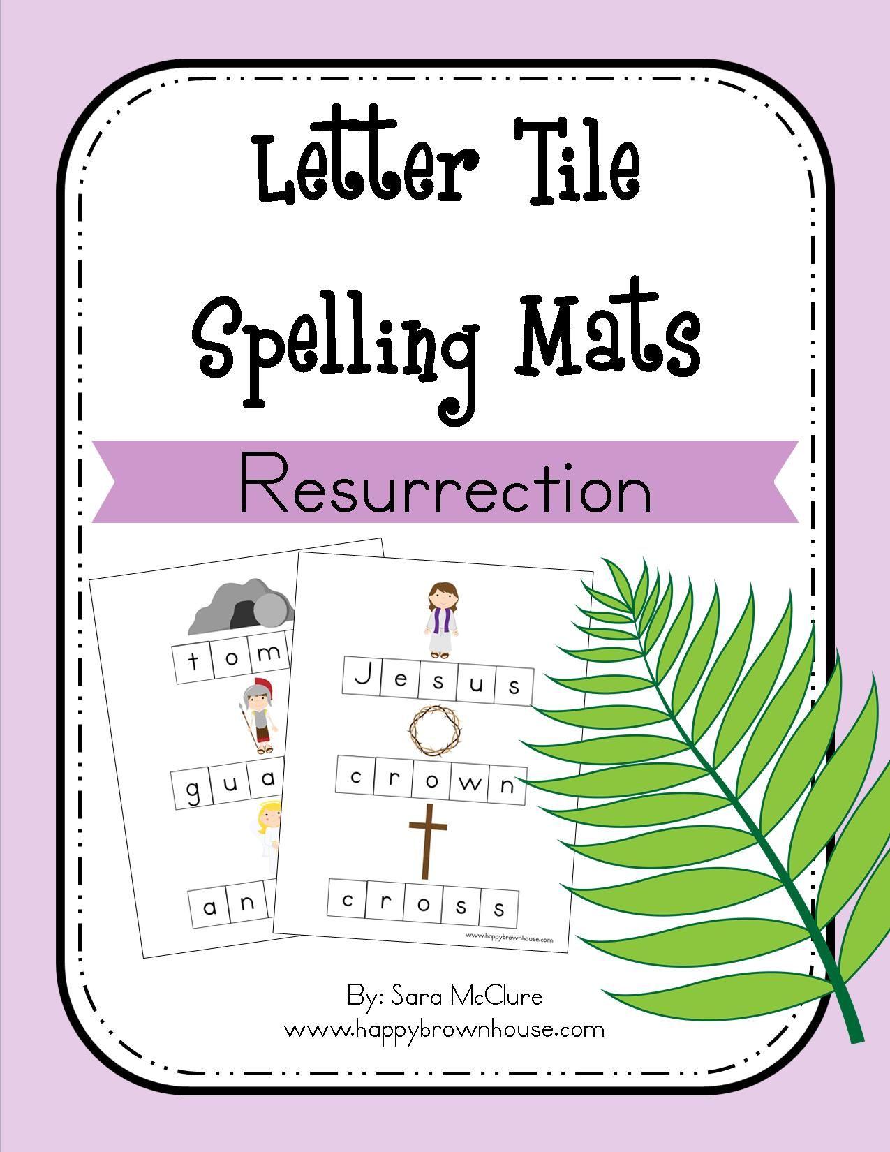 Letter Tile Spelling Mats Printable Bundle Seasons