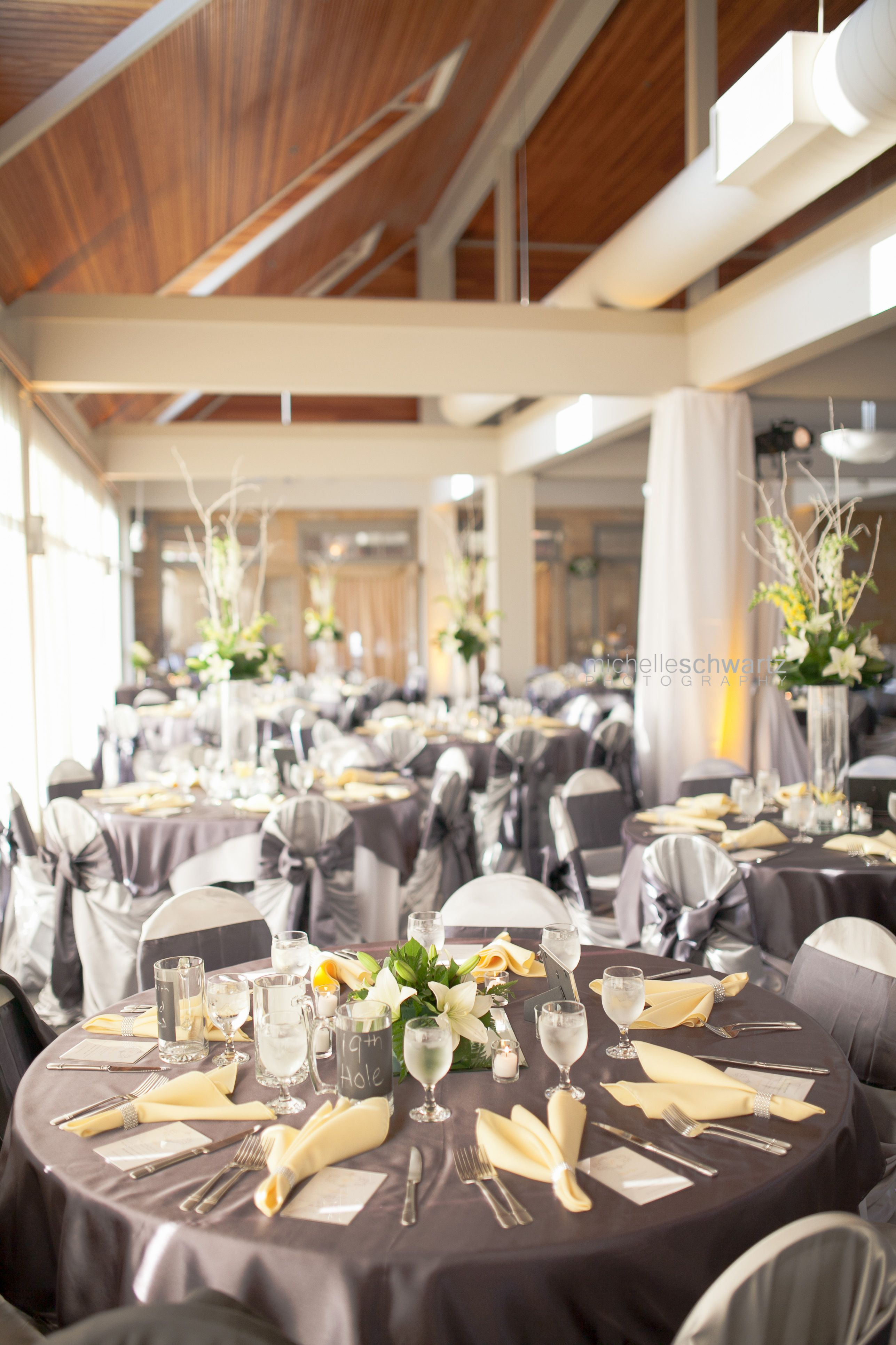 Wedding decorations yellow and gray  Yellow and Gray Wedding Table setting at Golf course club house  St