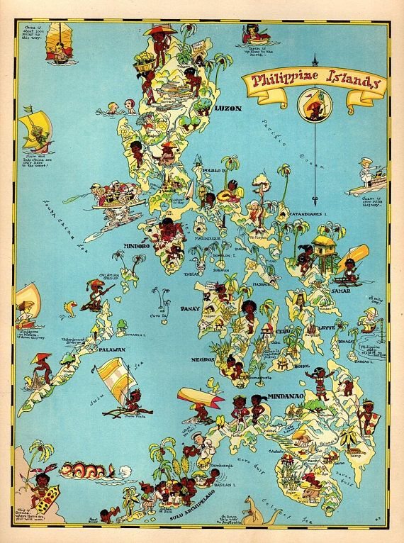 1930s vintage philippines picture map the philippine islands 1930s vintage philippines picture map the philippine islands print gallery wall map collector gift for traveler wedding birthday gift rt publicscrutiny Images