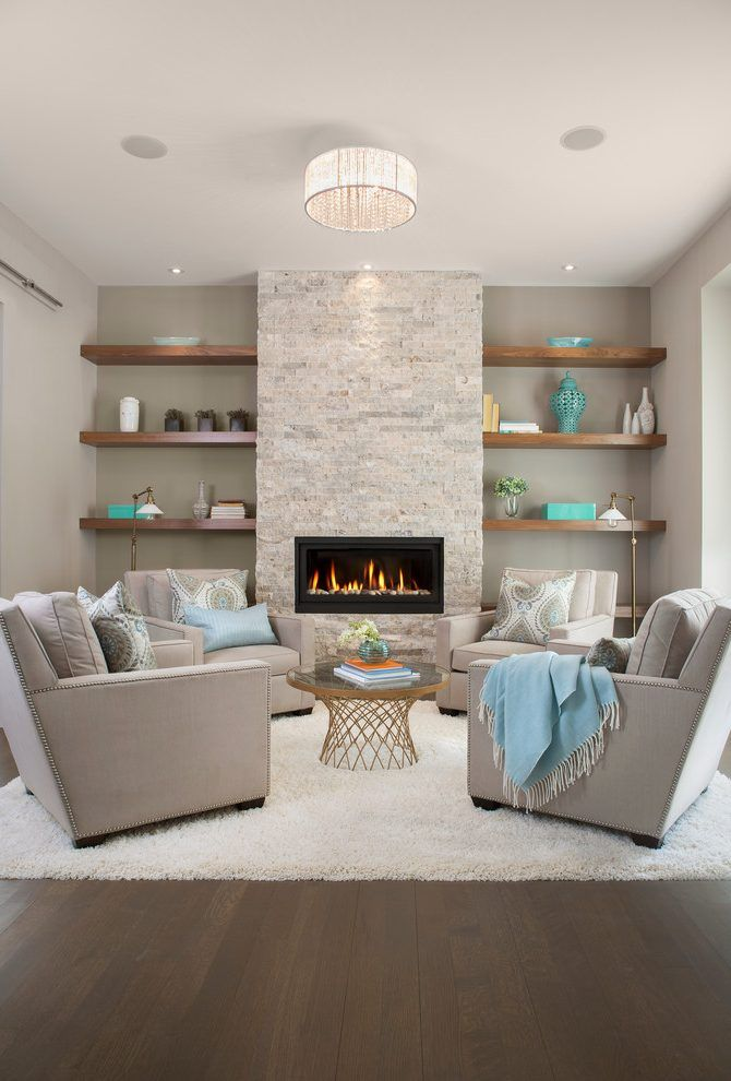 Fireplace without mantle living room transitional with - Wall covering ideas for living room ...