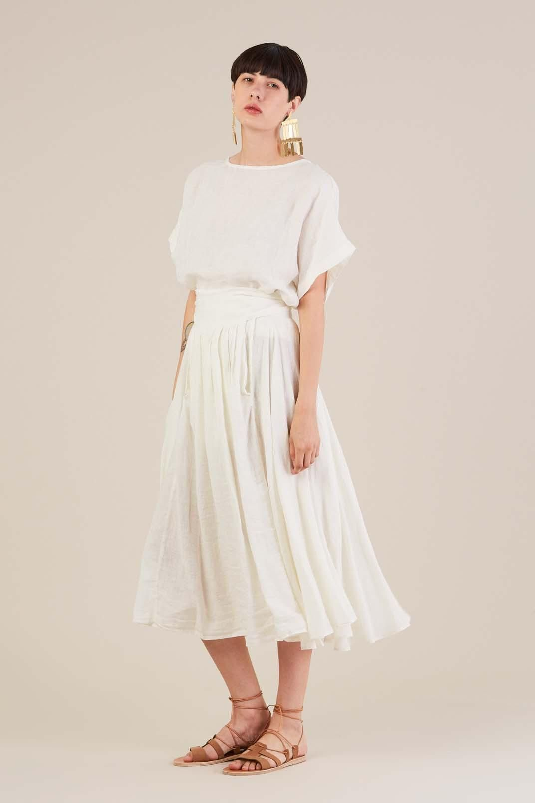 Wrap Skirt in Eggshell by Black Crane