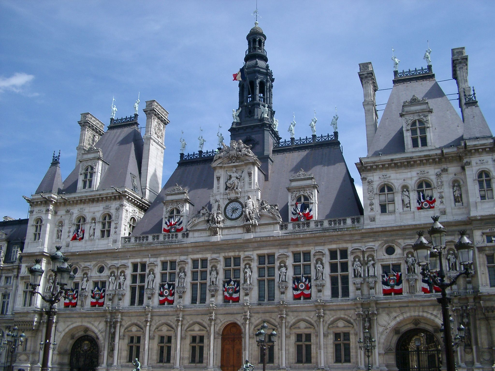 Exterior Of Hotel De Ville Administrative Building In Paris