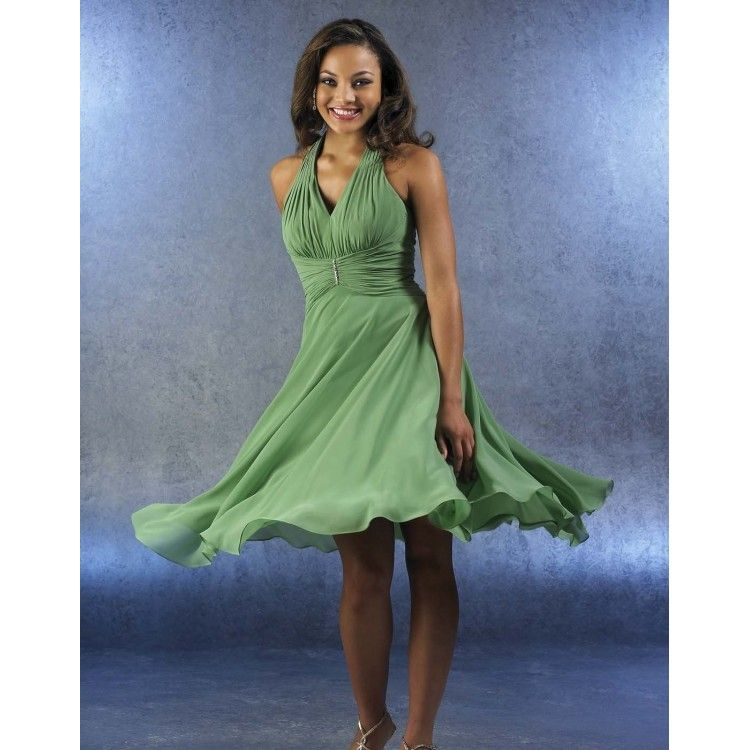 Image Detail for - ... Dresses, Best Seller Green Chiffon Tea Length Bridesmaid Dress BM-0023