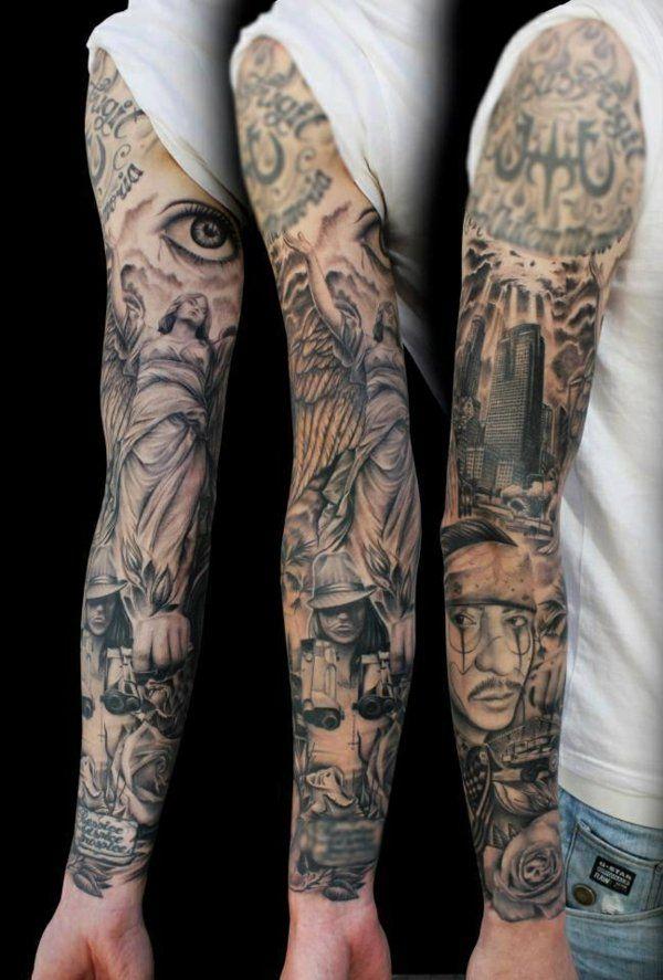 Tattoo Vorlagen Manner Mann Mit Sleeve Tattoo