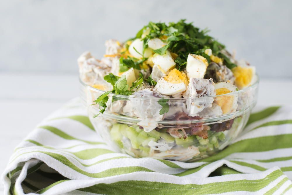 Easy 7 Layer Potato Salad Recipe Layered Potato Salad Layered Potato Potatoe Salad Recipe