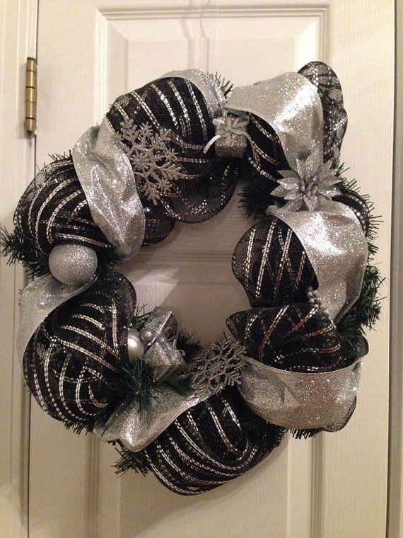 Black and Silver Christmas Deco Mesh by LittleShoppeOfCrafts