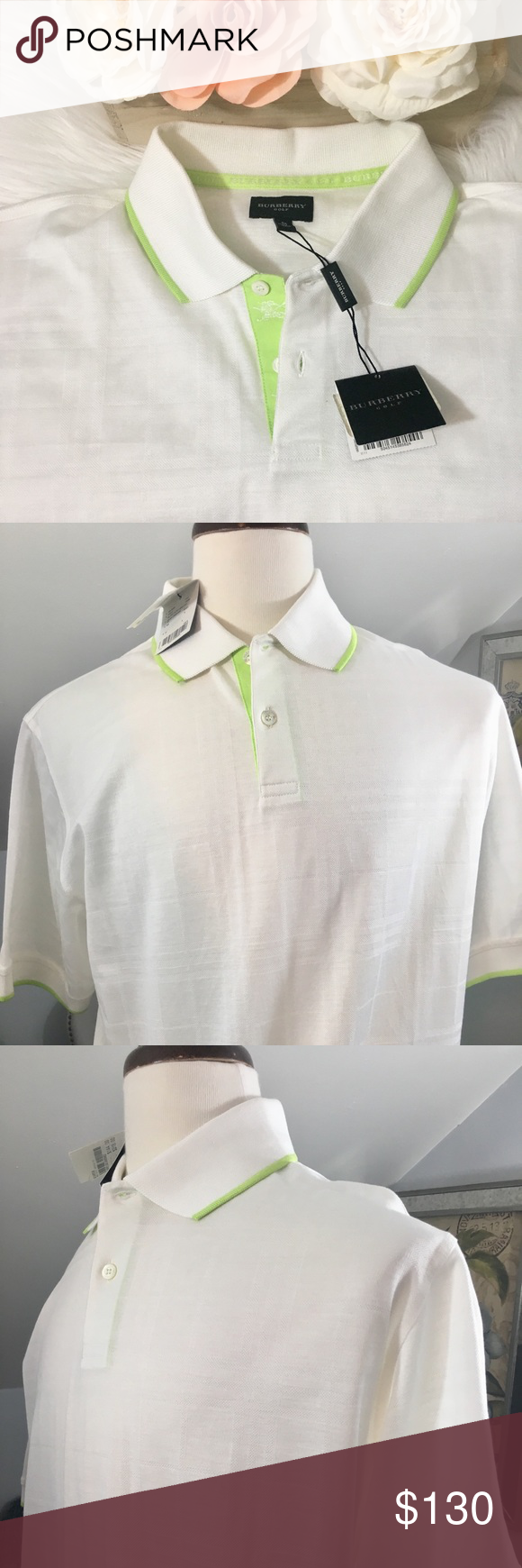 90505ff2 Men's Burberry Golf NWT Polo Shirt Men's Burberry NWT Golf Polo Shirt in  White with Green