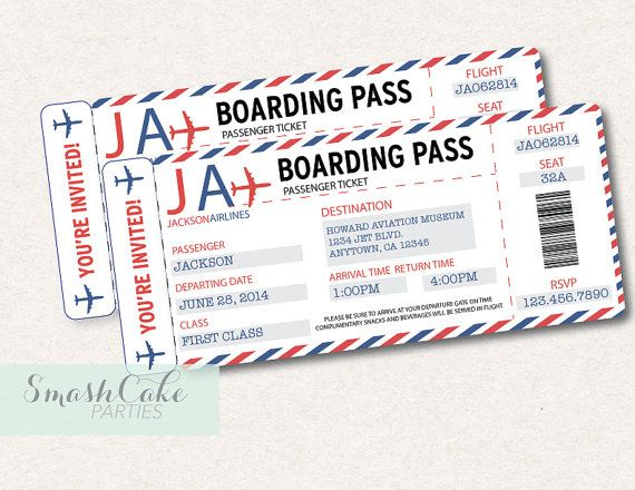 Vintage Airplane Airline Ticket Birthday Party Or Baby Shower