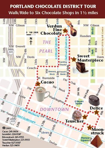 Portland Chocolate map 6 chocolate shops in 15 mi downtown