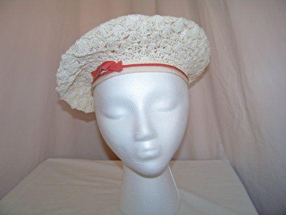 RARE 1940 1950 Women's Sailor Woven hat with Dark by SanMonet, $115.00