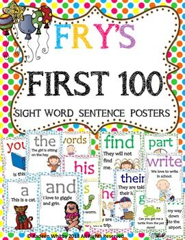 First 100 Fry words with sentences and pictures.