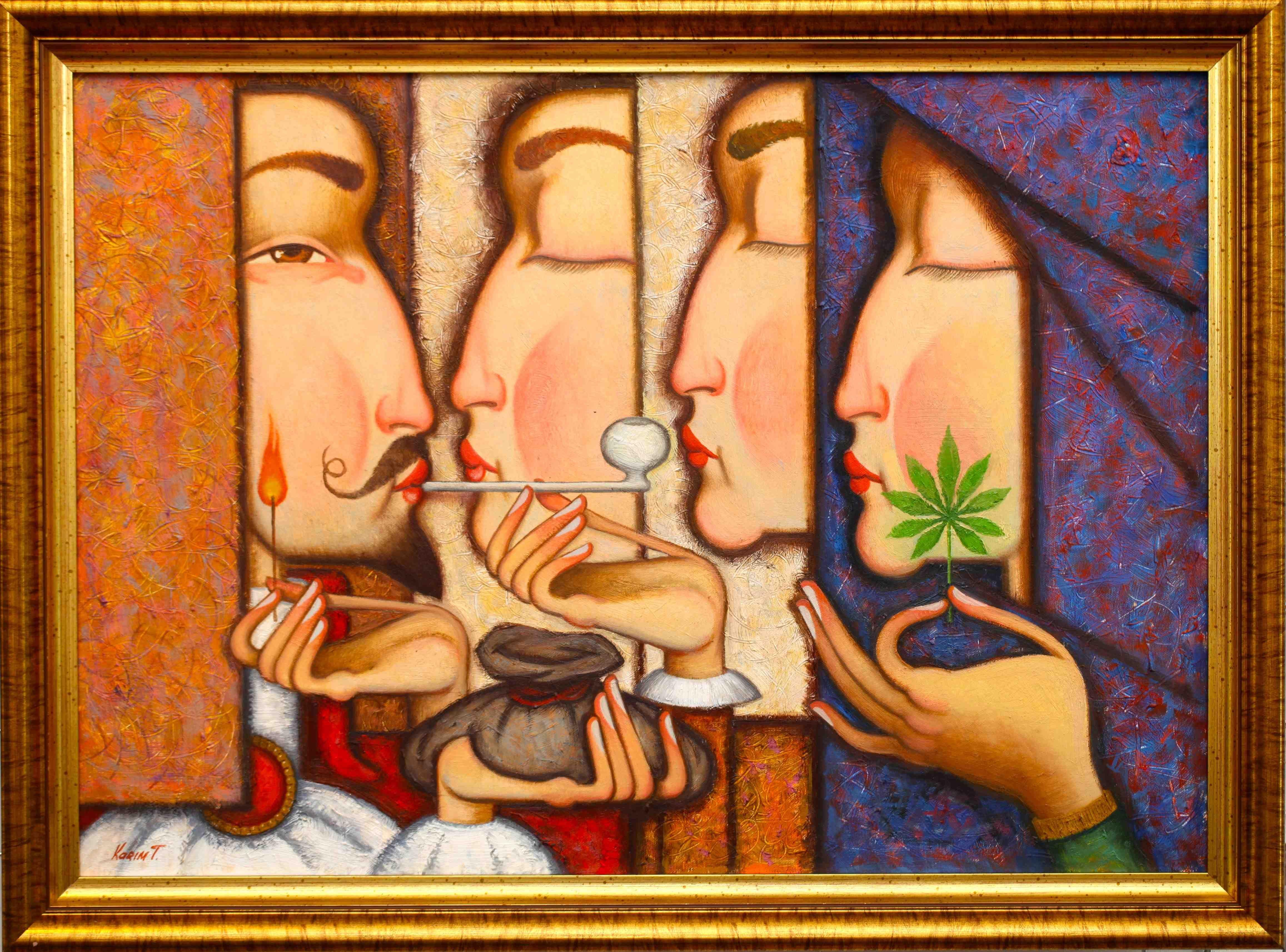 """seria """"Love stories"""", z fajką. 70cmx50cm, olej, płótno, 2013"""