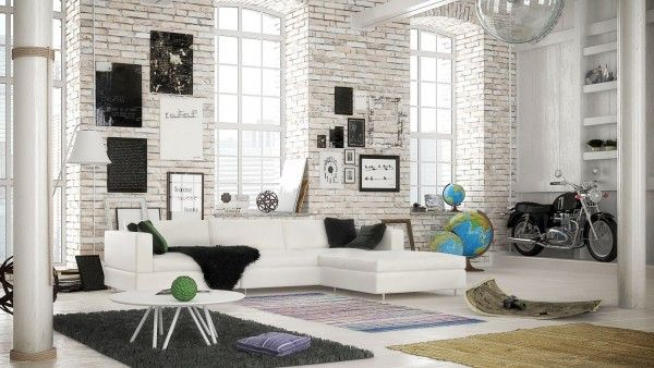 Scandinavian Industrial Design white painted brick gives this industrial loft a lot more warmth