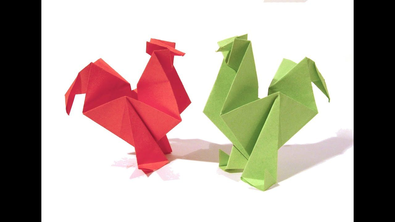 Easter Origami Rooster Hen Tutorial How To Make An Origami Rooster Origami Rooster Origami Pig Origami Easy