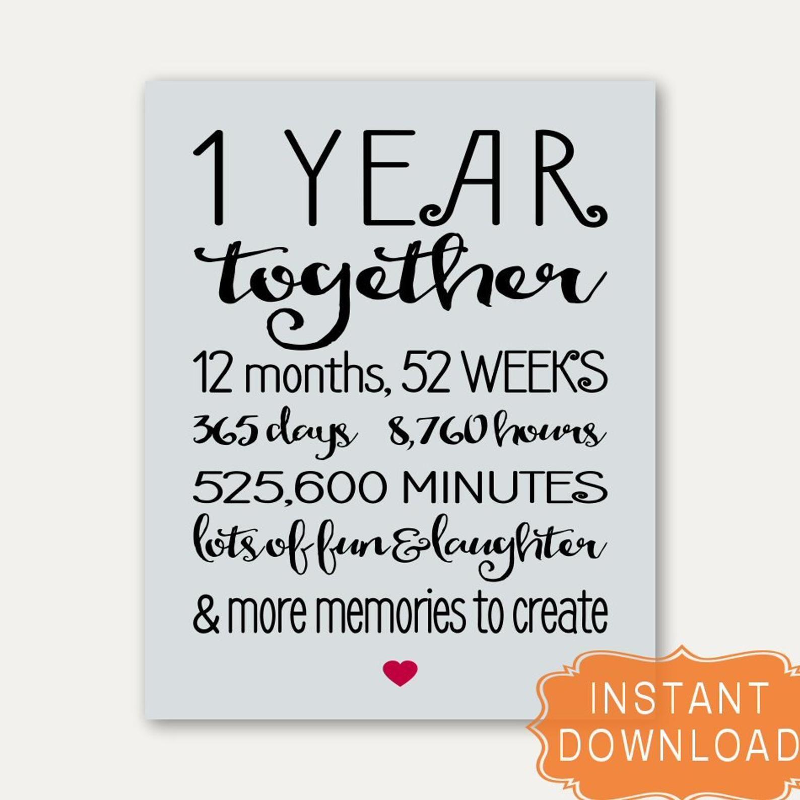 Digital PDF Anniversary First Anniversary First Anniversary Card Printable Card Card for Boyfriend 365 Days Card Card for Girlfriend