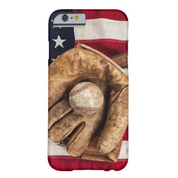 A Vintage Baseball Bat And Glove On American Flag Animal