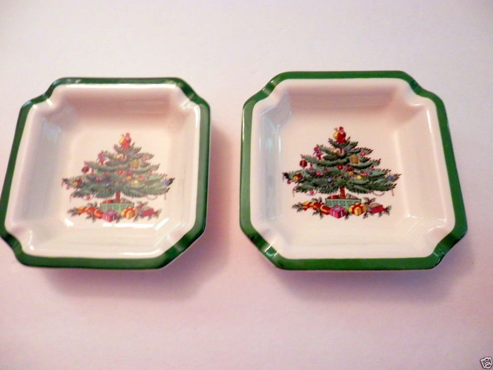 Spode Christmas Tree ashtray set of 2 square 45 inch vintage #Spode
