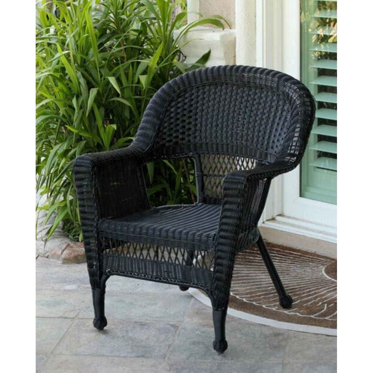 Set Of 2 Black Resin Wicker Weather Resistant Outdoor Patio Garden Chairs 36 Orange Cushions Garden Chairs Green Cushions