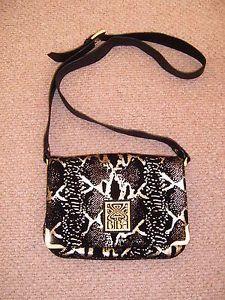 Biba Las Black And Gold Bag Shoulder With Lizard Print Fab Ebay