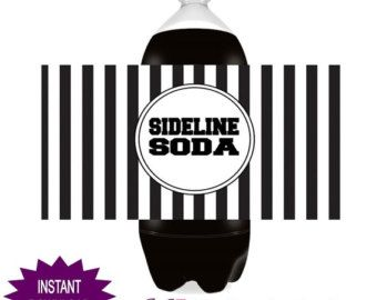 Instant Download ~ Digital File ~ Football Party Soda Bottle Wrappers Labels