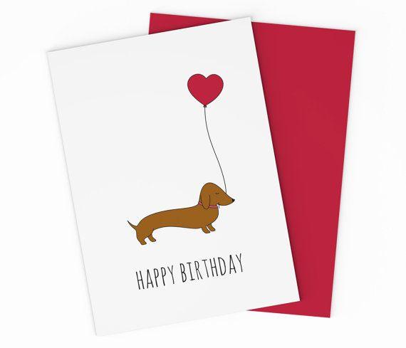 Happy Birthday Dachshund Dog Cards Kids Printable Weiner Dogs