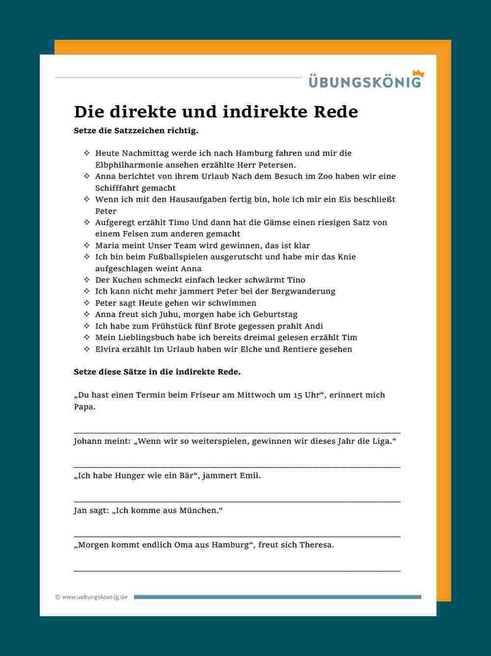 Direkte Und Indirekte Rede In 2020 Indirekte Rede Deutsch Unterricht Realschule