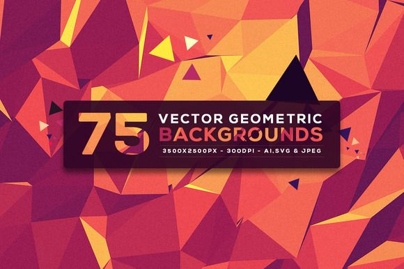 75 Vector Geometric Backgrounds V.5 by graphicon on Creative Market