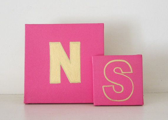 Monograms Initials Gold Acrylic Embossed Gold And Gloss Pink