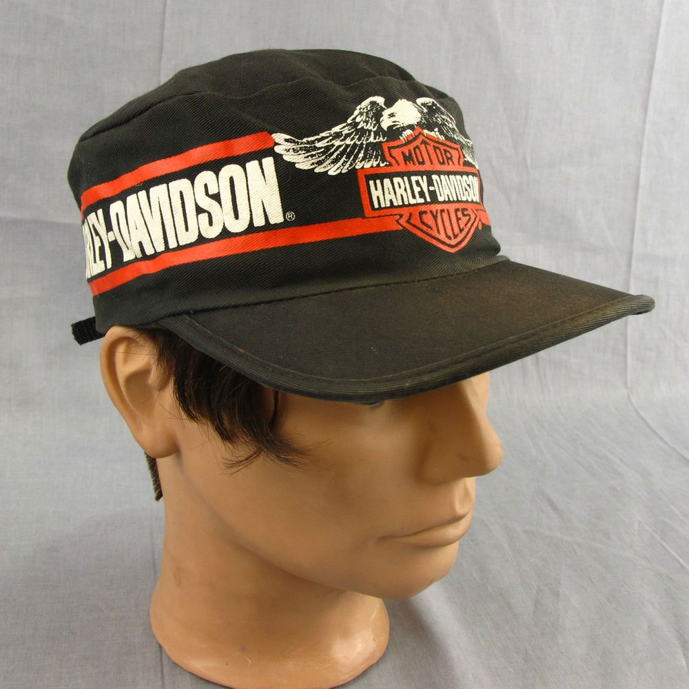 Harley Davidson Vintage Hat Painter Cap Adjustable Motorcycle Black Eagle   HarleyDavidson  PaintersCap 1a93f1a67cf