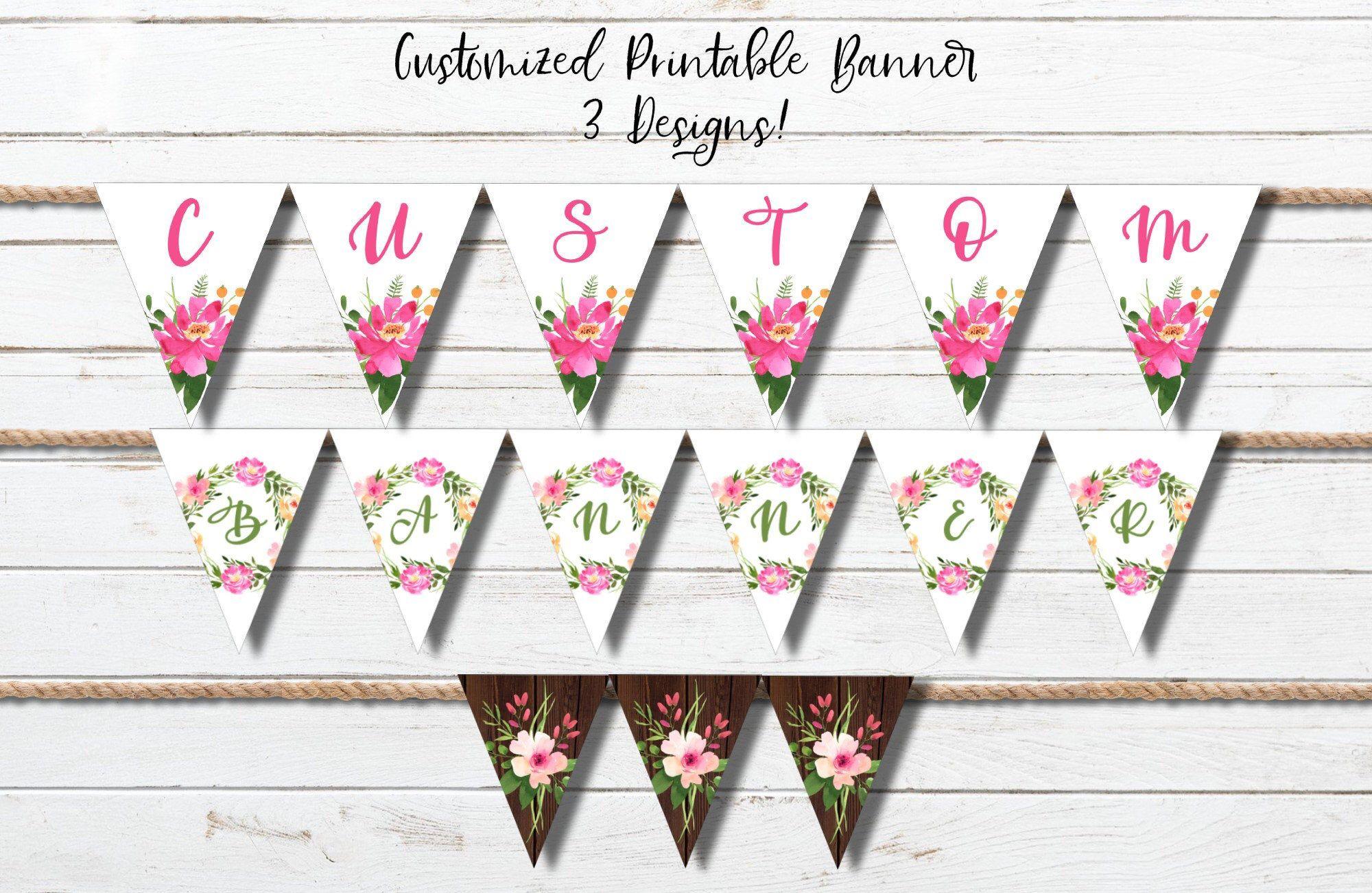 Editable Custom Banner Watercolor Floral Bridal Shower 3 ...
