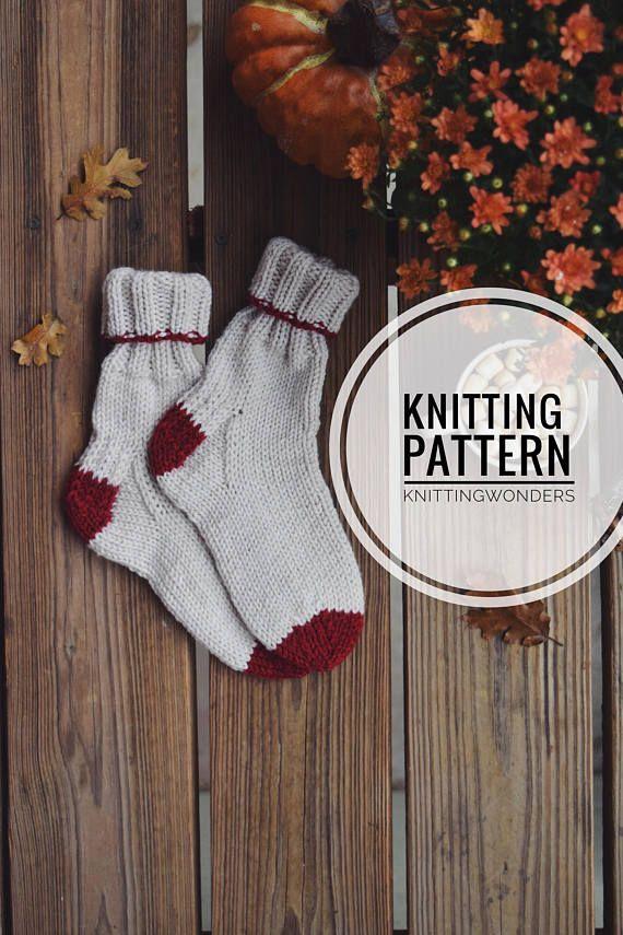 Knit Pattern | Chunky Socks, Knitted Socks Pattern PDF ...