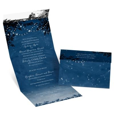 starry night - seal and send invitation, Wedding invitations