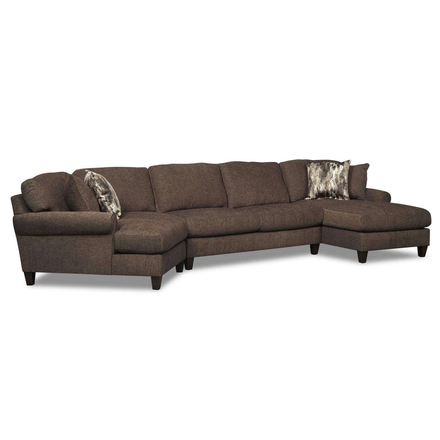 Living Room Furniture Karma Smoke 3 Pc Sectional with Right